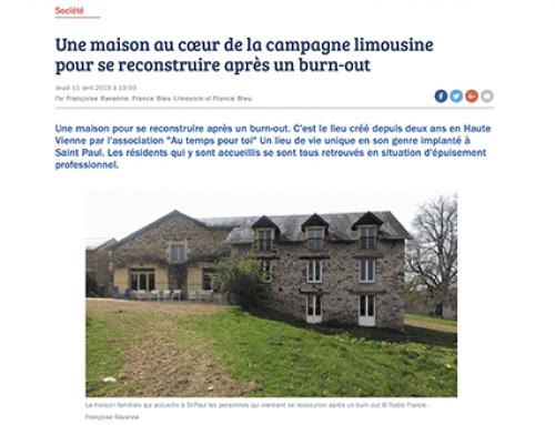 Article web par «France Bleu Limousin», le 11 avril 2019